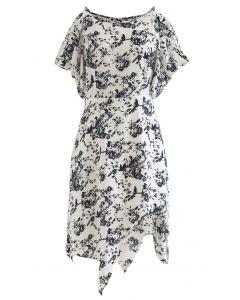 Skizze Blumendruck Asymmetrisches Kleid mit kalter Schulter