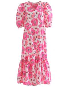 Hot Pink Blossom Bubble Sleeve Dolly Midi-Kleid