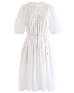 Diamant Waben Dolly Kleid in Weiß