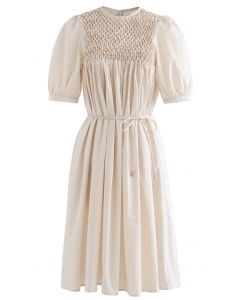 Diamant Waben Dolly Kleid in Creme