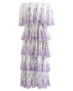 Lavendel bedrucktes plissiertes, schulterfreies, abgestuftes Kleid in Weiß