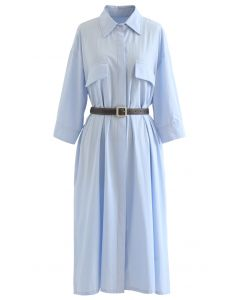 Button Down Belted Baumwollhemd Kleid in Himmelblau