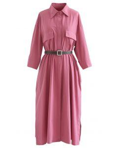 Button Down Belted Baumwollhemd Kleid in Pink