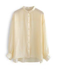 Kragenloses leichtes Button-Down-Shirt aus Aprikose