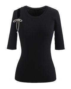 Schulterausschnitt Bowknot Rib Knit Top in Schwarz