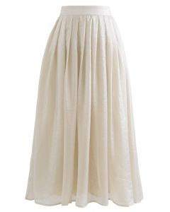 Shimmer Breeze Plissee A-Linie Midi Rock in Creme
