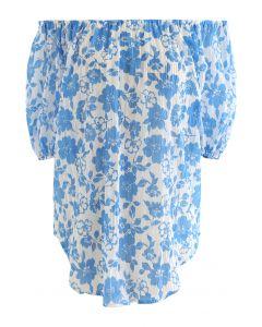 Off-Shoulder Blue Floral Strukturiertes Oberteil