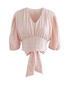Plaid Jacquard V-Ausschnitt Krawatte Taille Crop Top in Pink