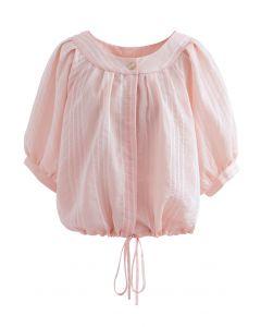 Gestreiftes Button-Down-Crop-Shirt in Pink