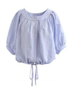 Gestreiftes Button-Down-Crop-Shirt in Blau