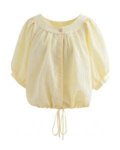 Gestreiftes Button-Down-Crop-Shirt in Gelb