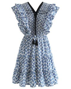 Indigo Ruffle V-Neck Flare Kleid