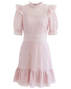 High Neck Full Crochet Minikleid in Pink