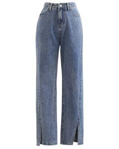 Slit Cuffs High Waist Soft Jeans in Blau