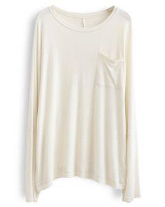 Langarm Oversize T-Shirt aus Elfenbein