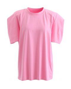 Kurzärmliges gepolstertes Schulteroberteil in Pink