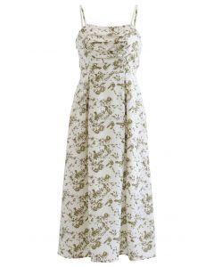 Cami-Kleid mit geraffter Büste und Plissee-Print aus Elfenbein