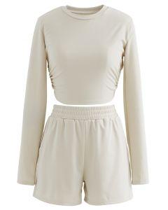 Cutout Tie Back Crop Top und Shorts in Hellbraun
