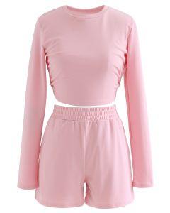 Cutout Tie Back Crop Top und Shorts Set in Pink