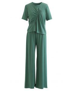 Rüschenbesatz T-Shirt und Hose in Grün gesetzt