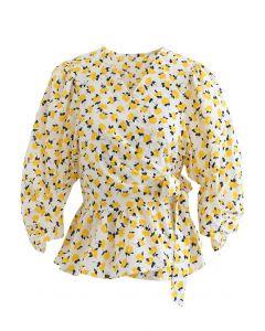 Gelbe Blumen Krawatte Taille Rüschen Wickeloberteil