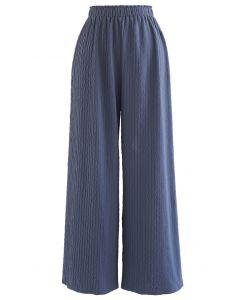 Zickzack geprägte Hose mit weitem Bein in Blau