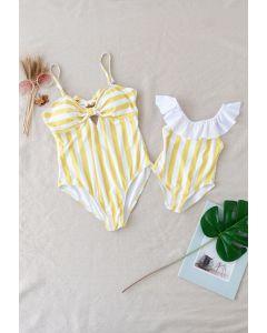 Stripe Printed Bowknot Back Badeanzug für Mama & Kinder