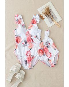 Badeanzug mit Rüschendetail und Rosendruck für Mama und Kinder