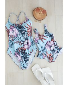 Rüschen-Cami-Badeanzug mit tropischem Blumendruck für Mama und Kinder
