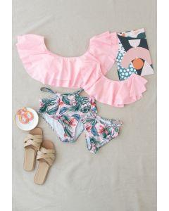 Tiered Shoulder Tropical Print Bikini-Set für Mama & Kinder