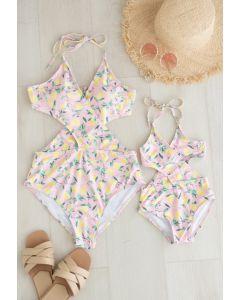 Badeanzug mit Neckholder-Neckholder und Zitronenmuster für Mama und Kinder