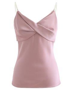 Crystal Straps Twist Bust Cami Trägershirt in Pink