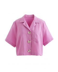 Notch Lapel Pocket Buttoned Crop Shirt in Pink
