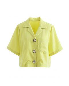 Notch Lapel Pocket Buttoned Crop Shirt in Gelb