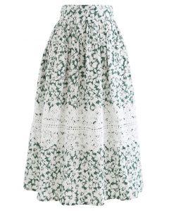 Häkeln Sie verzierten grünen Blumen Midirock