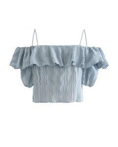 Ripple Plissee-Oberteil mit kalter Schulter in staubigem Blau
