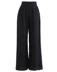 Ripple Plissee Hose mit weitem Bein in Schwarz