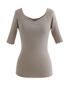 Sweetheart Neck Fitted Strickoberteil in Taupe