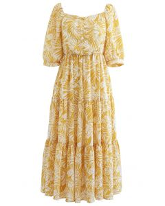 Senf Palm Leaf Print Rüschen Midi-Kleid