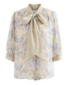 Vintage Blumen Krawatte Neck Sheer Shirt in Moosgrün