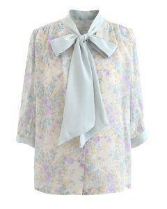 Vintage Floral Tie Neck Sheer Shirt in Minze