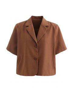 Kurzärmliger gepolsterter Schulter-Crop-Blazer aus Karamell