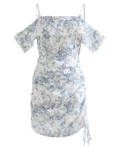 Kordelzug Seite Kaltschulter bedrucktes Kleid
