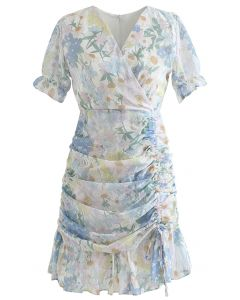 Bodycon Minikleid mit Rüschen und Rüschen mit Blumenmuster und Kordelzug