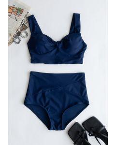 Bikini-Set mit Twist-Front und hoher Taille in Marine