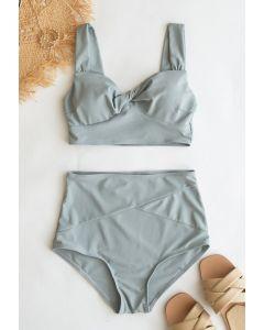 Bikini-Set mit Twist-Front und hoher Taille in Grau