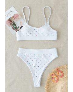 Buntes Cami-Bikini-Set mit Pailletten in Weiß
