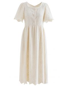 Full Flower Embroidered Button Scalloped Dress in Cream
