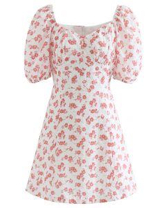 Flowery Sweetheart Neck Eyelet Mini Dress in Red
