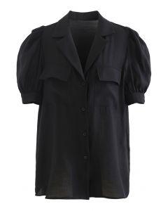 Hemd mit geknöpftem Kragen und Klapptasche in Schwarz